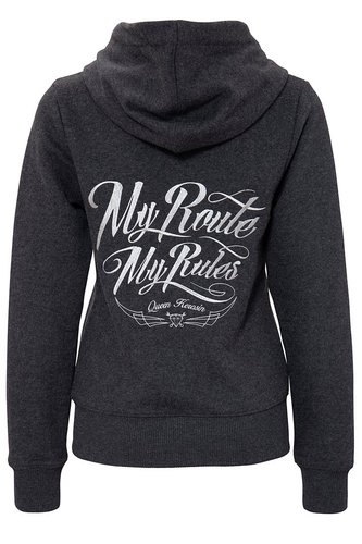 "Queen Kerosin Hoodie ""My route, my rules"" Anthrazit"