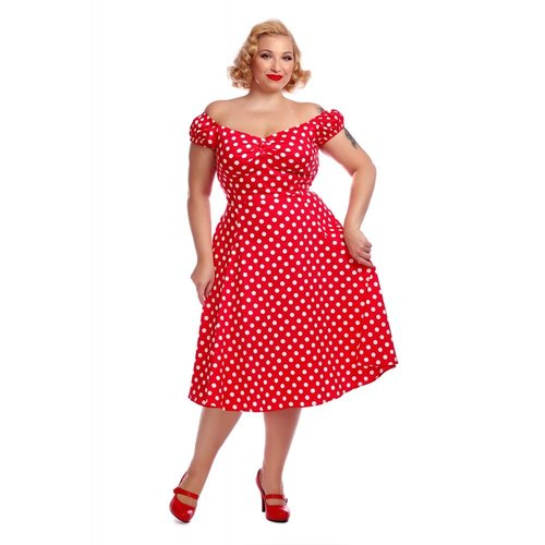 Collectif Schwingkleid Dolores Doll rot Polkadot