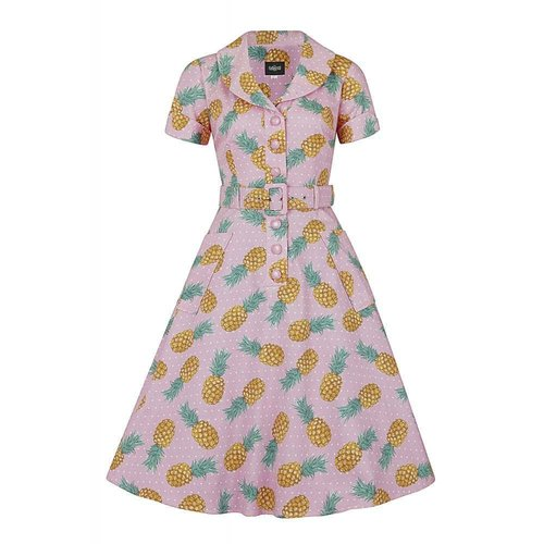 Collectif Schwingkleid Brette Pineapple pink